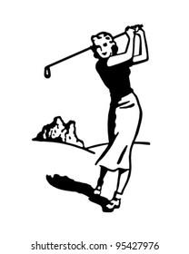 Woman Golfer 4 - Retro Clipart Illustration