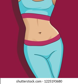 Woman with good digestion. Cartoon vector illustration