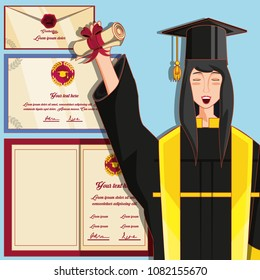 woman graduted with nuform character