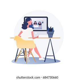 Woman graphic designer working on computer while sitting at the table indoors. Vector illustration