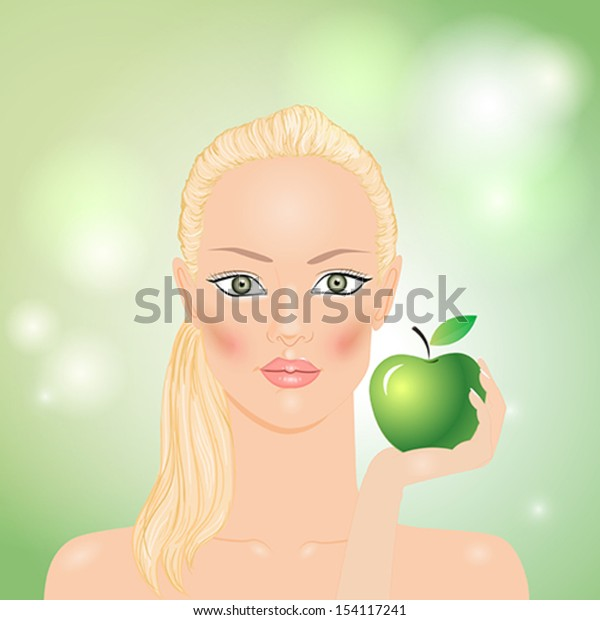 Woman with green apple in hand