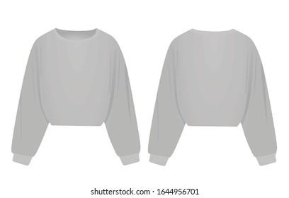 Woman grey crop hoodie. vector illustration