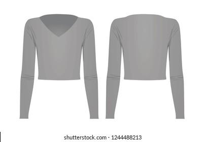 Woman grey v neck top t shirt. vector illustration
