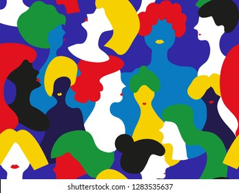 Woman group seamless pattern, abstract design. Vector graphic illustration