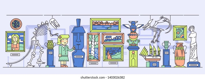 Woman guide conducting excursion around exhibition hall with artifacts. Exposition with paintings, sculptures, dinosaurs skeletons, ancient objects at museum. Art gallery vector flat illustration.