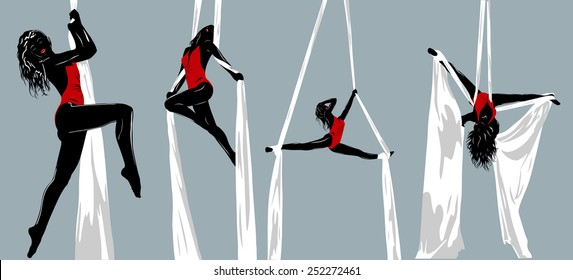 Woman gymnast silhouettes. EPS 10 format.
