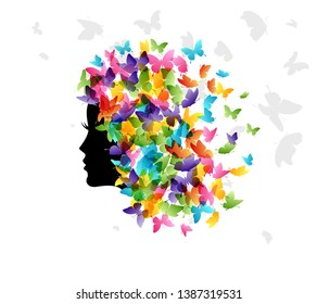 Woman with hair from butterflies. Vector isolated decoration element from scattered silhouettes. Conceptual illustration of beauty and style.