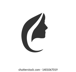 Woman hair and face vector icon