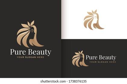woman hair leaf salon gold gradient logo design