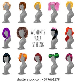 Woman hair style on fashion mannequin. Female wigs of different shapes and colors. Vector cartoon big set isolated on a white background.