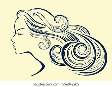 Woman hair style silhouette. Female fashion profile.