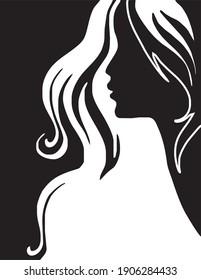 woman hair style in vector art style