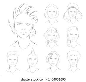 woman Haircut drawing collection. vector set