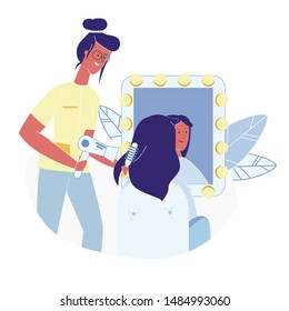 Woman at Hairdressing Salon Flat Illustration. Stylist Drying Customer Hair With Dryer and Round Brush Cartoon Vector Characters. Client Looking in Mirror, Hairdresser Working, Curling Hair