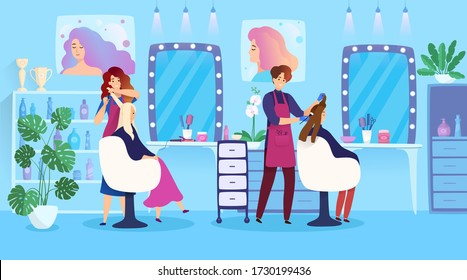 Woman hairstyle in beauty salon, hair dyeing people cartoon characters, vector illustration. Professional female hairdresser in modern studio, glamour lifestyle fashion. Hair coloring stylist service