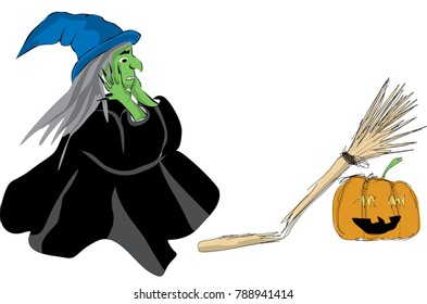 Woman in Halloween witch costume with witch hat and broken magic broom. Sketch drawing