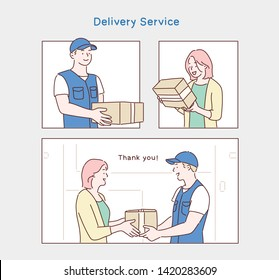 Woman hand accepting a delivery of boxes from deliveryman. Hand drawn style vector design illustrations.
