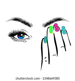 Woman hand with colorful manicure nails closing one eye, eyelashes mascara, perfect shape brows, logo beauty salon, hand drawn style, vector illustration.