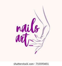 Woman hand with elegant manicure.Nails salon vector icon.