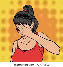 Woman with Hand Flopping Her Forehead. Facepalm Expression. Epic Fail Emotion. Girl in Pop Art Comic Style on Yellow Background. Vector illustration. Ideal for Print.