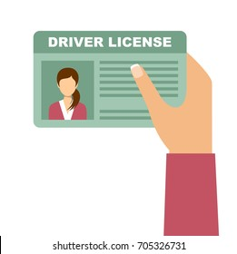 Woman hand holding car driving license. Vector