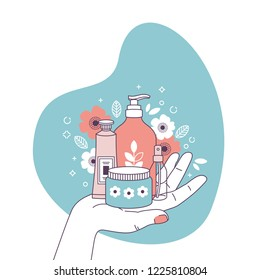 Woman hand holding cosmetics.  Shopping. Organic cosmetics. Feminine illustration. Vector illustration