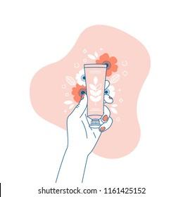 Woman hand holding cream tube. Cosmetics floral illustration. Shopping. Vector illustration