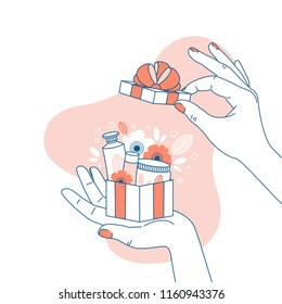 Woman hand holding a gift box with cosmetics. Surprise illustration. Shopping. Vector illustration