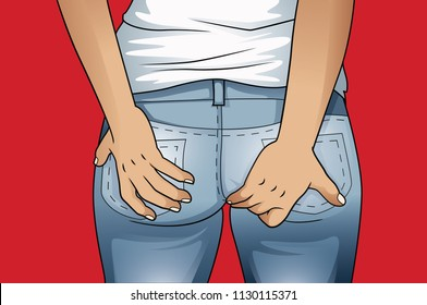 Woman hand holding her bottom because having Abdominal pain and Hemorrhoids, Health care concept.