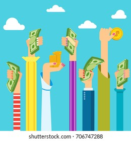Woman hand holding money. Symbol of wealth, success and good luck. Bank and Finance. Flat vector cartoon illustration. Objects isolated on a white background.