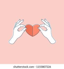 Woman hand holding paper heart. Heart shape. Vector illustration