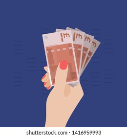 Woman Hand Holding Pound Sterling Banknotes. Money in Hand isolated. Vector Illustration, Flat Design Style. Giving Money. Spending Money