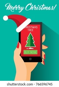 Woman Hand Holding Smartphone in Christmas Hat. Christmas Tree Icon on Screen. Lady Buying Xmas Presents Online, Modern Customer Shops on Internet Vector Art Design Illustration.