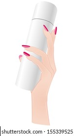 Woman hand holding a spray bottle. File is not flattened with labeled layers. Easy to add your design.