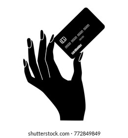 woman hand holds the credit card icon. Vector illustration. Image for adverting in the financial and the bank sphere.