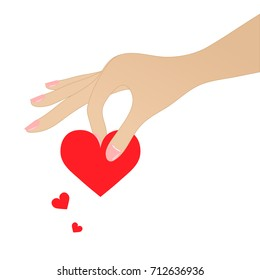 Woman hand holds red heart on white background. EPS10 vector illustration for design element, card, poster, banner, template. Human hand picks up hearts.