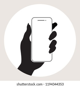Woman hand with mobile phone icon.