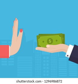 Woman Hand Refusing The Offered Dollars Vector Illustration. Flat Design Style. Business Concept. Corruption, Dishonesty