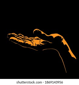 Woman hand silhouette in contrast backlight. Vector. Illustration.