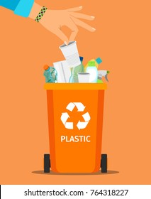 Woman hand throws garbage into a plastic container, vector illustration