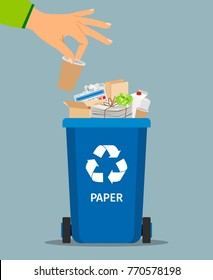 Woman hand throws garbage into a paper container, vector illustration