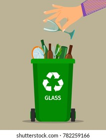 Woman hand throws garbage into a glass container, vector illustration