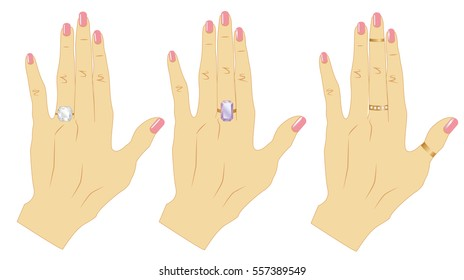 Woman hand wearing a dimond rings.