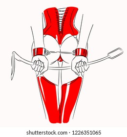 Woman handcuffed in red handcuffs on white background, sexual domination, BDSM outfit