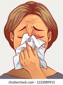 Woman with handkerchief, vector illustration