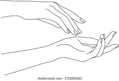 Woman Hands Delicate Rejuvenating, Elegant female hands, Realistic Gestures, Line Art, Vector Illustration