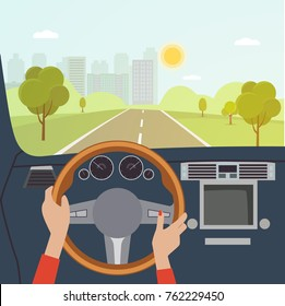 Woman hands of a driver on steering wheel of a car. Vector flat illustration