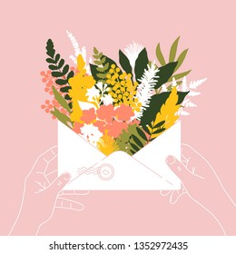 Woman hands holding an envelope full of spring flowers. Spring flowers bouquet. Vector illustration