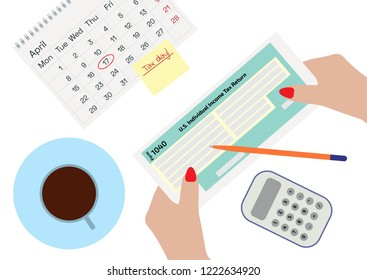 Woman hands holding the income Tax Form 1040. Woman signing or filling the form, drinking coffee. A calendar, a pen and calculator. Tax Day on April 17. Vector illustration in flat style. Bookkeeping