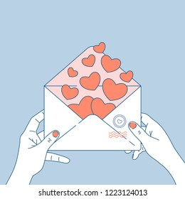 Woman hands holding love letter. Valentine's day envelope with hearts inside. Valentines's day greeting card. Vector illustration